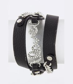 """This adorable, multi-strap bracelet is designed with the word, """"love,"""" crystal-studded linking the straps together, and chain link tassels on each side. The cute bracelet is approximately 22"""" long with a snap closure so it's easy to put on and take off. You definitely need to add this to your bracelet collection! $13.99"""