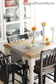 Farmhouse Table Makeover with Americana Decor Chalky Finish Paint