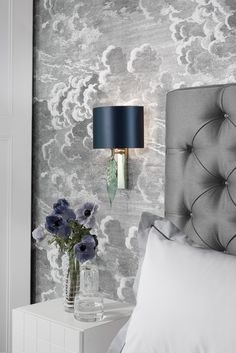 Cole & Son Fornasetti Nuvolette wallpaper, Larch Chrome Wall Light Beautifully formed glass leaf in Smoke, Opal Jade and Lustre finishes. Presented on a Chrome back plate. Wall light also available in Antique Brass Back plate.