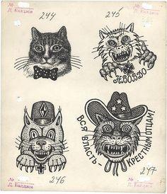 "Russian criminal ""cat thief"" tattoo designs"