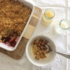 Plum and Apple Anzac Crumble Plum And Apple Crumble, Anzac Biscuits, Cake Blog, Golden Syrup, Vanilla Essence, Rolled Oats, Shredded Coconut, Puddings, Tart