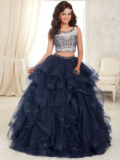 Two Piece Beaded Dress by House of Wu Fiesta Gowns Style 56295