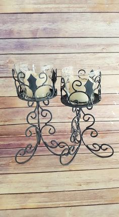 Candle Holders Pair Grey Wrought Iron Gothic Medieval  Up cycled Eco Friendly READY TO SHIP - pinned by pin4etsy.com