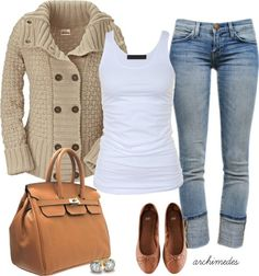 White t-shirt made smart by a comfy sweater, cute shoes and exquisite bag.