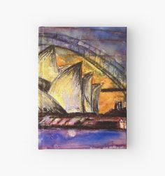 Hot Sydney Night Hardcover Journal. The Sydney Harbour Bridge and the Sydney Opera House in vibrant purples, yellows and oranges. Colours from a hot summers night. Perfect to brighten up your office/bag/desk and for those who love these iconic Sydney sites. Sydney Australia.