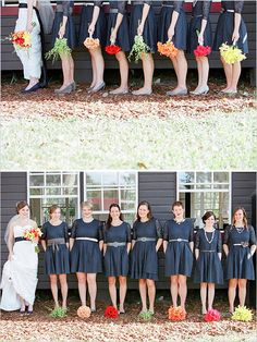 different bouquets for every bridesmaid... CUTE IDEA..Whit, your bouquet could incorporate all of the bridesmaid's individual flowers...