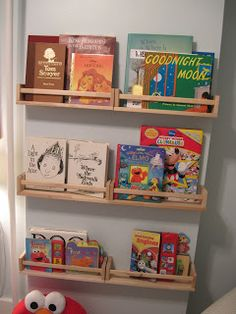 Inrichting kinderdagverblijf/bso Our Old Abode: Ikea Spice Racks as Bookshelves.for magazines in bathroom? Bathroom for kids to have own shelf to (hopefully) put away their stuff? Ikea Spice Racks As Book Shelves, Spice Rack Bookshelves, Book Racks, Bookcase, Bathroom Kids, Bathroom Shelves, Ikea Bekvam, Kids Glasses, Glasses Frames