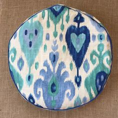 Meditation Cushion ~ Floor Cushion ~ Zafu ~ Yoga Cushion -Ikat -Blue Hearts by ZenTreasuresYoga on Etsy https://www.etsy.com/listing/260858589/meditation-cushion-floor-cushion-zafu