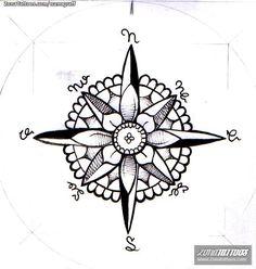 Diseño/Plantilla tatuaje Rosa de los vientos