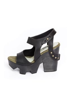 Ripsaw Commando Platform Black by CHIYO -  leather and wood material - edgy clogs