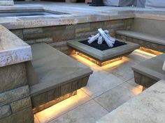 Santa Barbara Sandstone and French Limestone created an inviting fire pit entertainment area for this stunning home in Southern California. Industrial Tv Stand, Limestone Flooring, Faux Fireplace, Paving Stones, Fire Pit Backyard, Patio Design, Santa Barbara, Entertaining, French