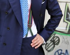 shibumi-berlin:  Shibumi Blue Printed 7-Fold and Repp Stripe Braces.Suit made by Sartoria De Togni.