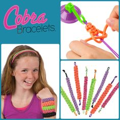 It's new! Create 5 friendship Cobra bracelets with neon satin and parachute cord! #bracelets #fashion
