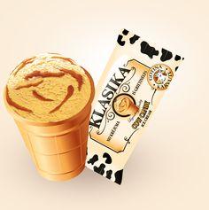 Klasika caramel cream ice cream in wafer cup