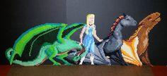 Daenerys Targaryen Rhagal Drogon Viserion Dragons Game of Thrones Perler Bead Art