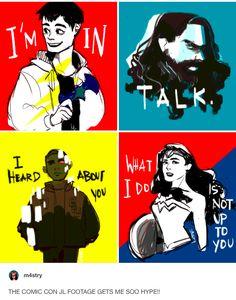 "m4stry: ""THE COMIC CON JL FOOTAGE GETS ME SO HYPE!! and here's a bonus"" part 1/2 // DC comics, comics, superheroes, the flash, barry allen, aquaman, arthur curry, vic stone, victor stone, cyborg, diana prince, wonder woman, bruce wayne, batman, justice league, comic con"