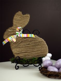 Moss and Twine Wrapped Easter Bunny Decor {You won't believe the before picture!}