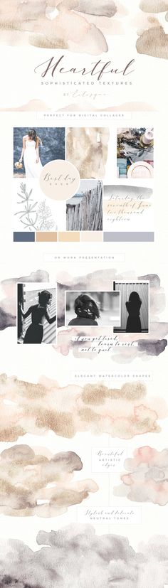Heartful watercolor textures by Eclosque on @creativemarket
