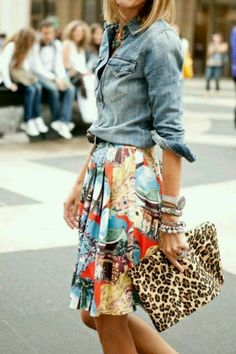 Go WILD with a leopard print and mixed print skirt; balance it out with a classic Chambray Shirt #pattern #outfit