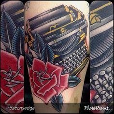 Kustom Thrills Tattoo typewriter tattoo by Ryan McDonald Nashville TN New Tattoos, Cool Tattoos, Awesome Tattoos, Mcdonalds Tattoo, Typewriter Tattoo, Teacup Tattoo, Full Tattoo, Best Tattoo Shops, Tatuagem Old School