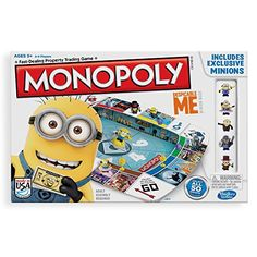 What makes the classic fast-trading property game even better? Minions, of course! Gru is back with a villainous plan to take over the game of Monopoly, and it's up to you to collect as many Banana Bucks as you can! The game includes exclusive Minions you can add to your collection – there are 50 to collect! (Other Minions sold separately with other Despicable Me games.) Spin the wheel with Nom Nom Tom and buy your favorite Despicable Me properties with your Banana Bucks. If you're the one…