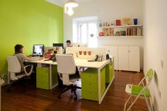 White bench desk with green drawers