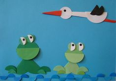 Stork and frogs Circle Crafts, Bird Crafts, Butterfly Crafts, Animal Crafts, Diy And Crafts, Crafts For Kids, Arts And Crafts, Origami, Art Drawings For Kids