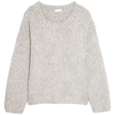 Chloé Oversized mohair, wool and cashmere-blend sweater found on Polyvore featuring tops, sweaters, blusas, jumpers, fuzzy jumper, over sized sweaters, grey wool sweater, gray oversized sweater and oversized wool sweater