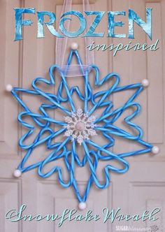 This Frozen-inspired candy cane wreath is a simple craft even kids can make! : This Frozen-inspired candy cane wreath is a simple craft even kids can make! Anyone that knows me will be shocked to see this post. Winter Christmas, Christmas Holidays, Christmas Wreaths, Christmas Decorations, Christmas Ornaments, Candy Cane Decorations, Frozen Christmas, Christmas Parties, Candy Cane Crafts