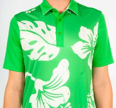 Green Hawaii - This stylish Men's Polo has a 3-button placket and color blocking with an inner gel label for added comfort.  Amazing design details include contrast collar piping, contemporary self collar, ultra-soft fabric, and a longer hem to stay tucked in. This golf shirt is awesome for fit, feel and performance! #men #shirt #tshirt #golf #cut #throat #fashion #best #score #style
