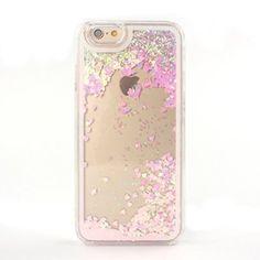 Japace® Klarsicht Transparent Hard Case Back Cover Schale Zubehör für Apple iPhone 6 4.7 Zoll Durchsichtige Handytasche Glitzer Flüssig Handyhülle Schutz Hülle Etui Tasche Herz-Flüssigkeit Rosa