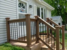 Exterior: Inspiring Natural Porch Railing Supporting Your House Home Arrangement Ideas Best Porch Railing Design For Your Home Wrought Iron Porch Railings Lowes Porch Railing Vinyl from Porch Railing Keep Our Porch Nicely
