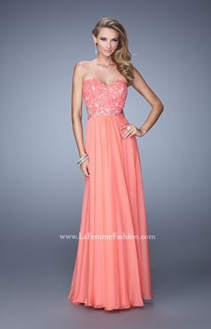 La Femme 20822 is a sexy chiffon gown featuring a lace upper bodice with an open back and gorgeous A line skirt. This pretty dress is perfect for prom, a winter formal or military ball.