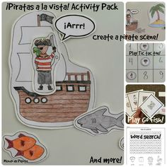 Piratas a la vista Activity Pack and Spanish Printable Minibook... this pack is full of fun and games, all centered around a pirate theme. Clothes, ocean, and pirate vocabulary are featured throughout. ¡Arrr! Mundo de Pepita Resources for Teaching Spanish to Children