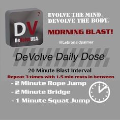 Check out www.facebook.com/DeVolveUSA for more workouts, tips and motivation!
