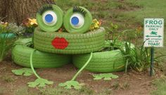 """Super cute!! 2 car tires and one larger truck tire 2 small tires with rims (from cart, wheelbarrow, or mower). 4 plastic bowls Tire inner tube Garden hose Recycled rubber doormat Lid from a broken storage tote Duco Cement Silicon caulk (paintable) Spray paint – green and white Brush paint – Red and blue Tools: Power drill with ½"""" bit Utility knife Scissors Paint brushes Q-tips 2x6x8 piece of treated lumber 3"""" deck screws Long galvanized nails Instructions 1. Clean tires and let dry. 2…"""