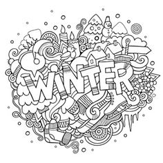Winter by Eazl Premium Gallery Wrap, Size: 16 x Multicolor Coloring Pages For Grown Ups, Coloring Book Pages, Printable Coloring Pages, Coloring Pages Winter, School Coloring Pages, Coloring Canvas, Colorful Drawings, Christmas Colors, Zentangle Patterns