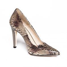 Zurbano | Melano - bright brown python skin leather pumps