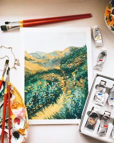 capturing some good memories with leftover paint🌿 Aesthetic Painting, Aesthetic Art, Art And Illustration, Gouache Painting, Painting & Drawing, Painting Inspiration, Art Inspo, Kunst Inspo, Guache