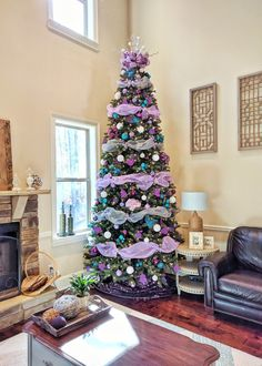 Our 2016 Purple white silver and teal Christmas tree decorated by KMeikle