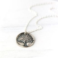 tree of life jewelry in sterling silver | Tree of Life Imprint Pendant Necklace / Rustic Sterling Silver ...