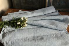 A 327: antique handloomed linen roll BABY BOY BLUE by grainsack