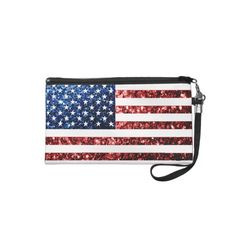 #USA #flag red & blue #sparkles glitters #Wristlet Clutch by #PLdesign #americanflag #4thofjuly