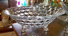 "50.00 Fostoria ""American"" Clear Glass Bowl, 3-Toed"