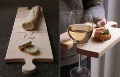 super cool cutting board/serving platter/plate/wine glass holder