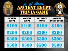 Ancient Egypt Trivia Game: Fun Stuff from TEACHLEARN on TeachersNotebook.com -  (51 pages)  - Have fun teaching your students about Ancient Egypt by playing a trivia game! It covers a lot of vocab like Papyrus, the Nile River, Pyramids, Embalming, the Sphinx, Pharaohs, Hieroglyphics, and more!