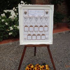A lovely framed floral seating plan from a recent wedding.