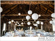 Rodes Barn Wedding Rodes Barn Wedding in Swedesboro, NJ.  Chinese lanterns & twinkle lights in the reception area! {Michelle + George}