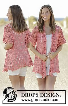 Crochet jacket with seamless sleeves in DROPS Paris. Sizes S - XXXL.