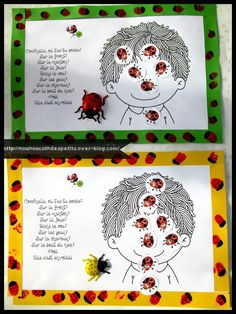 """- Aujourd'hui on a fait des empreintes de doigts en rouge sur des bandes de papier pour créer des coccinelles et pour décorer la comptine de """"Coccinelle, ou t'es tu posée ? """", nounou a collé les bandes tout autour et pour finir collage des gommettes coccinelles..."""
